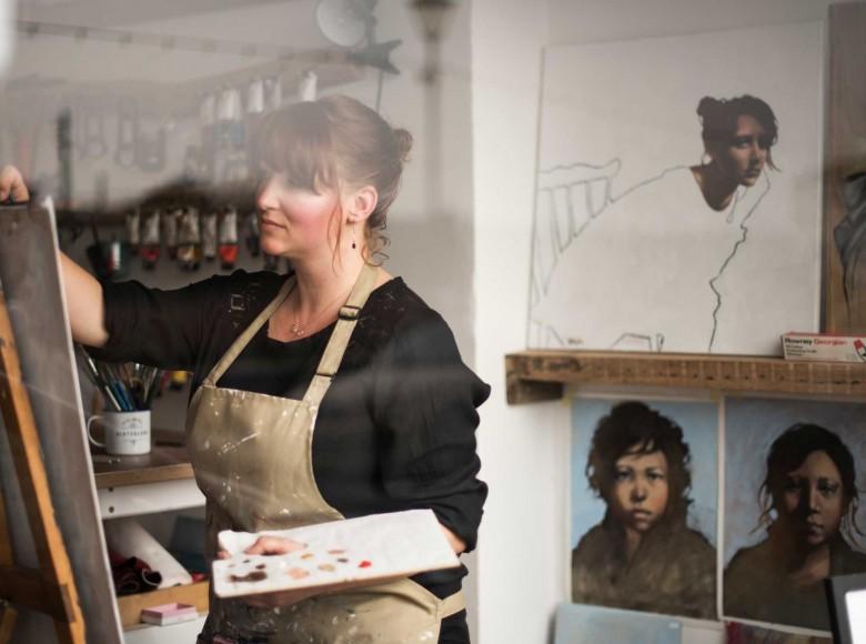 Hannah Wheeler in her studio, Open studios Cornwall 2016.